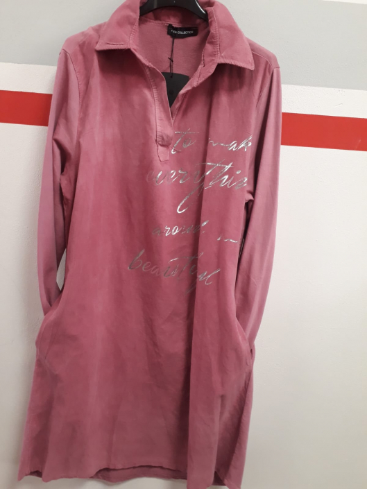 Šaty z jemného manšestru s límečkem a dlouhým rukávem , růžová